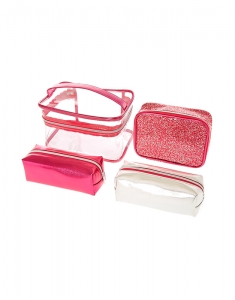 Genti cosmetice Claire's Pink Glitter Train Makeup Bag Set 76602