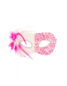 Accesorii petrecere Claire's Pink Iridescent Bead & Feather Mask 50604