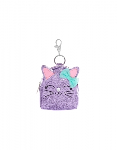 Brelocuri Claire's Metallic Glitter Cat Mini Backpack Keyring - Purple 34015